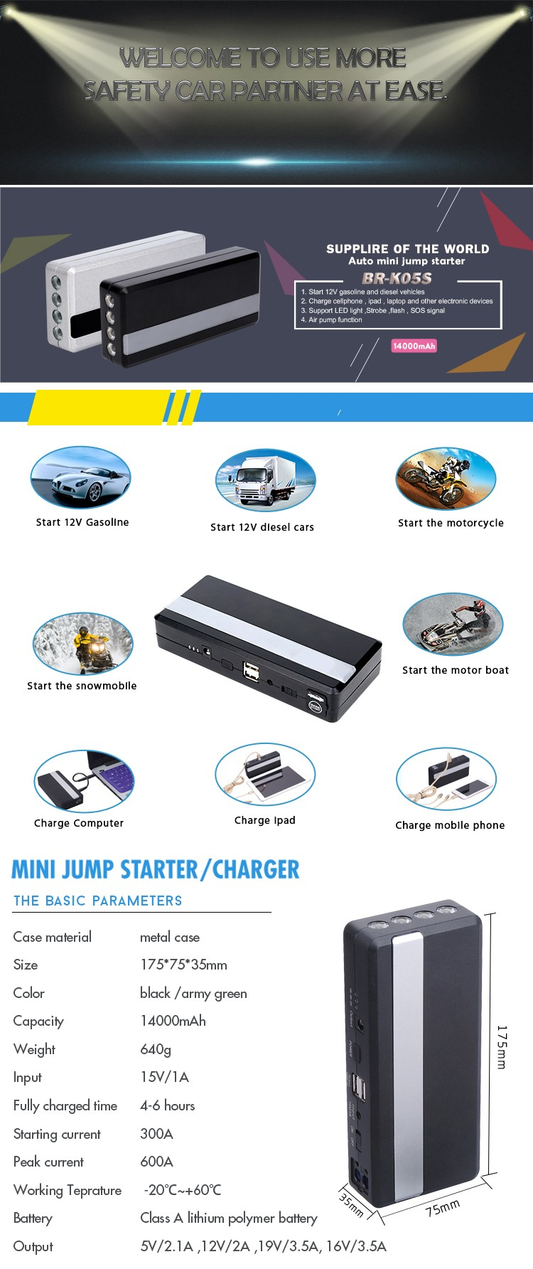 K05S New arrivel emergency car tool kits booster battery charger power pack  and motorcycle battery jump starter for 12V vehicle