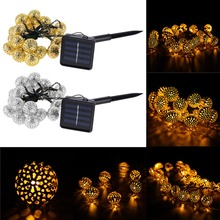 Solar Power 20 LED Garden Tree Wedding Decor String Fairy Ball Party Light Garland Outdoor Solaire luz Exterior Waterproof Light(China (Mainland))