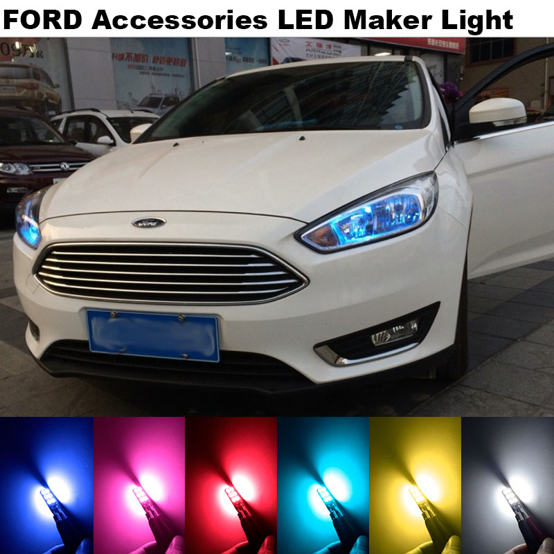 4X Error Free T10 W5W 2835 Clearance Lights For Ford Focus 2 3 4 1 Fiesta Fusion mondeo mk3 mk4 kuga mustang ka Accessories LED(China (Mainland))