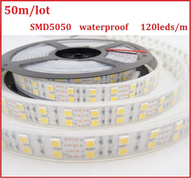 5050 Led Strip Double Row Waterproof 120Leds/M Flexible Ribbon Light RGB Red Green Blue Yellow Warm White Light Bar Free Mail<br><br>Aliexpress