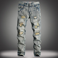 Fashion trend male retro vintage broken hole distressed straight denim pants street wear mid waist ripped