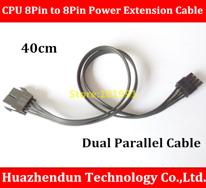 High Quality CPU 8Pin Male to 8Pin Female Power Extension Cable Dual Parallel Cable CPU Power Cord Black 40CM(China (Mainland))