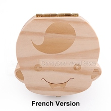 French Version 3-7 Years Baby Tooth Box Save Milk Teeth Fetal Hair Storage Box Gift For Children Wooden Tooth Box(China (Mainland))