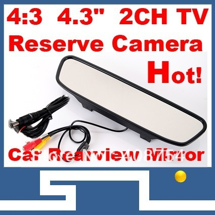 "4.3"" TFT LCD Monitors Digital Car Rear view Color Camera  Monior,TV Signal input,free shipping car Monitor mirror image support"
