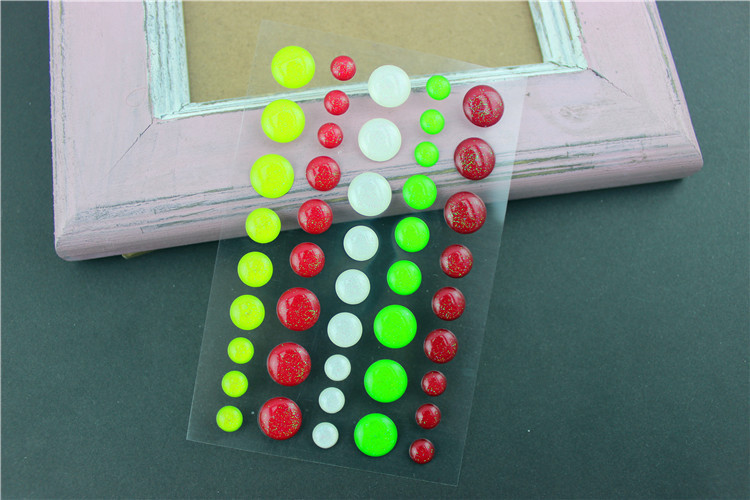 DIY Handwork Crystal clear round Enamel dots Stickers 3D decorating scrapbooking greeting card embellishments solid 3sheets/lot(China (Mainland))