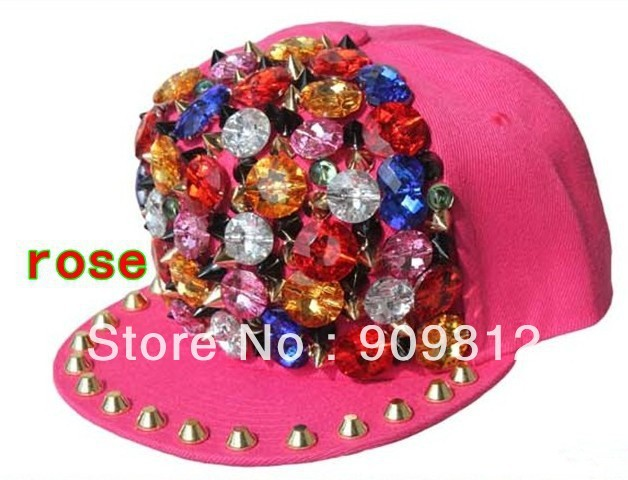 Free Shipping 2013 New Style, Punk rivet colorful button flat brimmed hat, Bboy hip-hop cap, Snapback caps