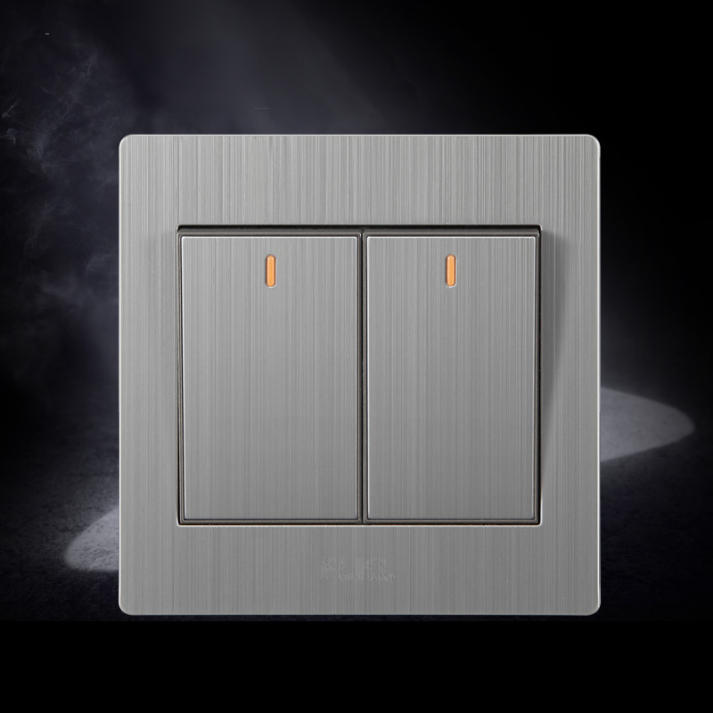 Wall Light Switches Us : stainless wall switch two gang light switch with indicator light -in Wall Switches from ...
