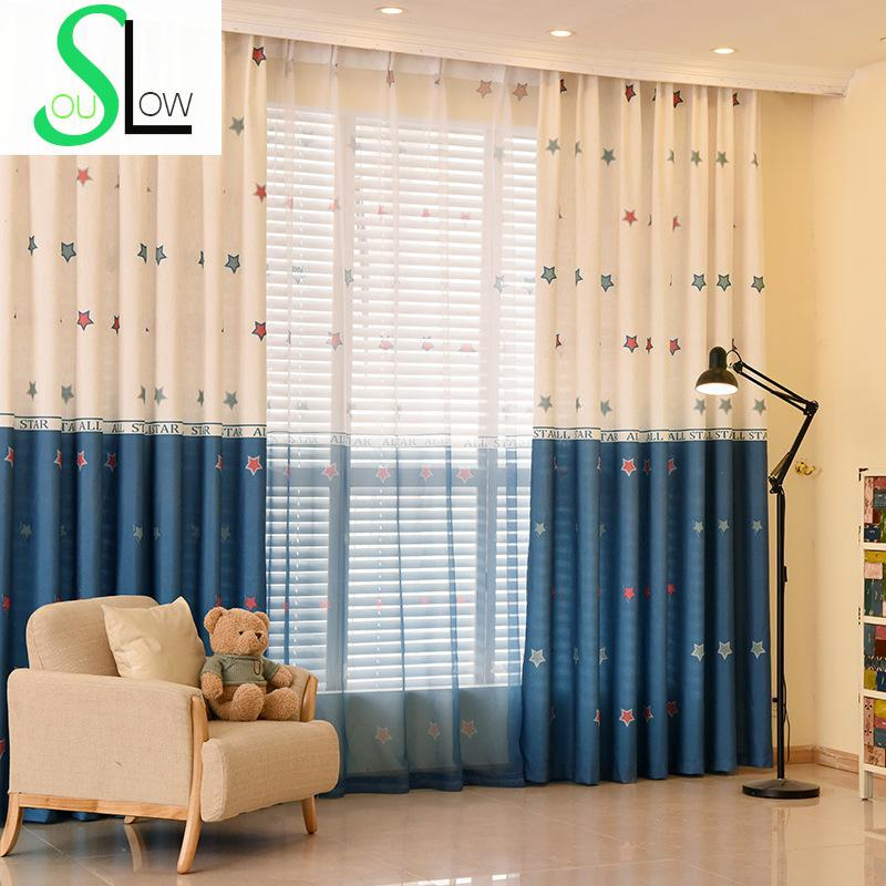 Stars Printed Curtain For Children Living Room Volie Tulle-curtains Patchwork Cortinas Infantiles Rideaux Pour Le Salon Drapes(China (Mainland))