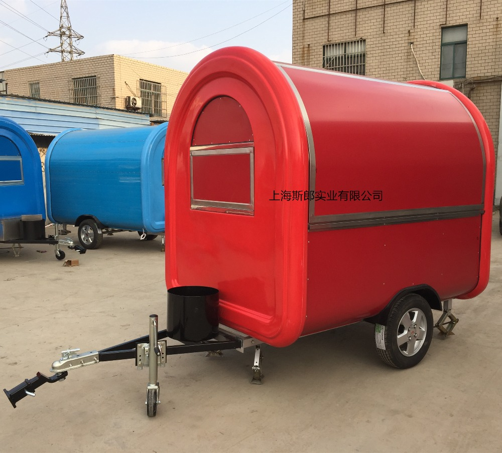 7.6 * 5.5ft red Food Van / Street Food Vending Cart For Sales, Hot Dog Cart / Mobile Food Trailer With Big Wheels in line with E(China (Mainland))