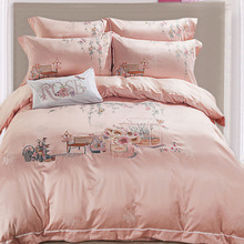 High Level Tencel Jacquard Embroidery Four Pieces Wedding Bedding Set Duvet Cover 133*72 High Quality Fabric China Style(China (Mainland))