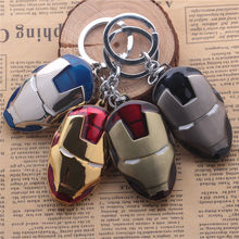 Super Hero The Avengers Model Figure Toy Iron Man Mask Helmet Metal Keychain Pendant Key Chain Keyring for Man Boy Kids Gift(China (Mainland))