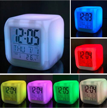 New Hot 7 LED Colour Changing Digital LCD Alarm Clock Thermometer Date Time Night Light(China (Mainland))