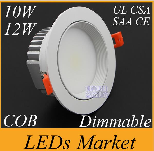 White shell 10w 12w Dimmable COB LED Downlight 90-260V 12v 1050lm Led Fixture Recessed Cabinet Down Lights(China (Mainland))
