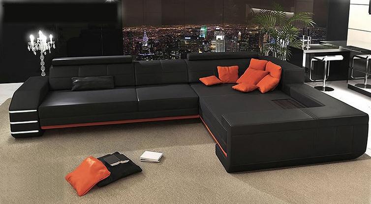 Black Orange Leather Sofa Fashionable Sectional Living Room Sofa Set Modern Leather Sofa Foshan A1151(China (Mainland))
