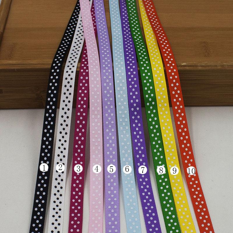 """10 yards ribbons 3/8"""" (9mm) Dot Printed Grosgrain ribbon Small packing ribbon Hair DIY Bows Accessories Tape X10Y63(China (Mainland))"""