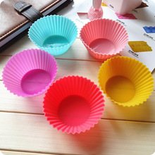 Color send randomly !!! 8pcs Soft Silicone Round Cake Muffin Chocolate Cupcake Liner Baking Cup Mold