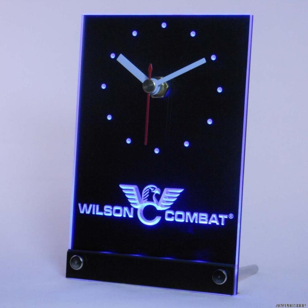 tnc0188 Wilson Combat Firearms Gun Logo Table Desk 3D LED Clock(China (Mainland))
