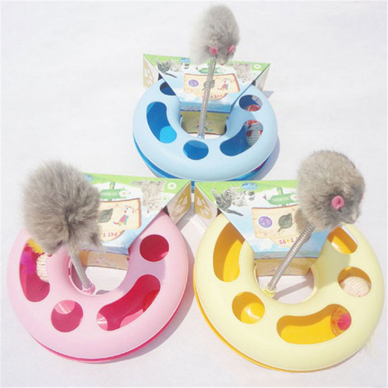 2016 Hot Sale New Creative Pet Kettle Cat Toy Spring Mice Crazy Amusement Disk Multifunctional Disk Play Activity(China (Mainland))