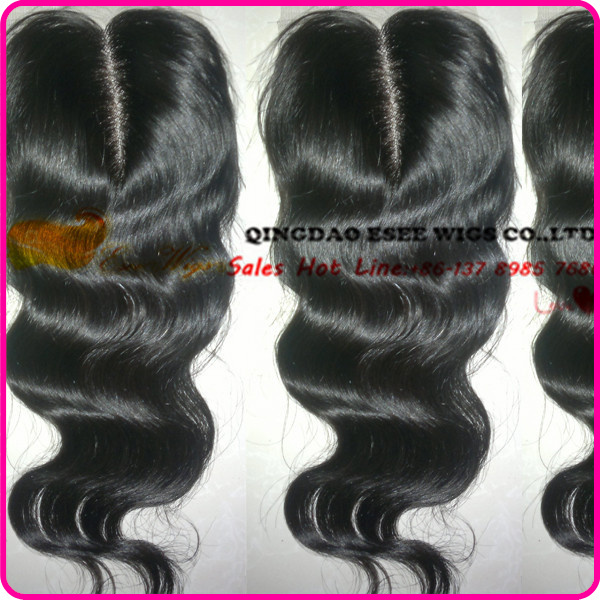 UPS/DHL Free shipping 8A 100 Virgin Peruvian Hair Lace Closure with bleached knots middle free 3 part natural color can be dyed