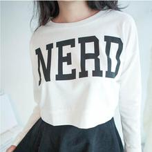 Hot Womens Hip-hop Cropped Tops Letter NERD Print Hoodie Long Sleeve Sweatshirts Free Shipping(China (Mainland))