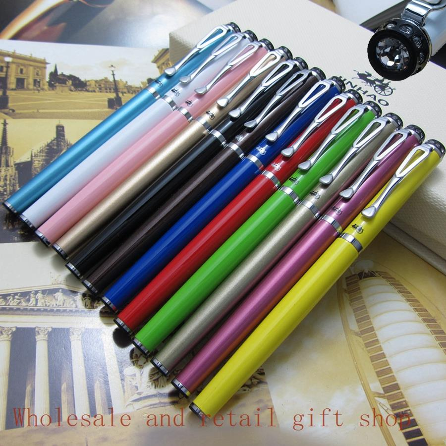 12 color Foreign trade Wholesale  Fine Fountain Pen Jinhao EF Finance pen  Silver CliP Diamond pen top metal Gift pen<br><br>Aliexpress