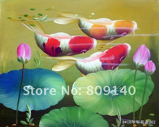 Oil painting on canvas decoration koi fish flower japanese for Japanese fish decoration