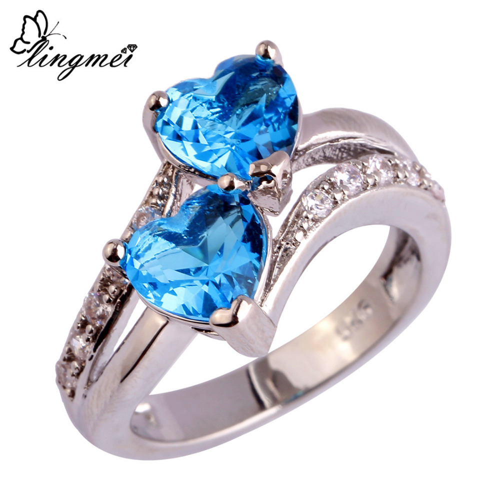 lingmei Fashion Women Jewelry Heart Dazzling Blue & White CZ Silver Color Ring Size 6 7 8 9 10 11 12 Free Wholesale