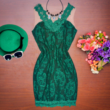 2016 summer style fashion women slim dress comfortable green lace vest dresses casual wild o-neck sleeveless a-line Dress(China (Mainland))