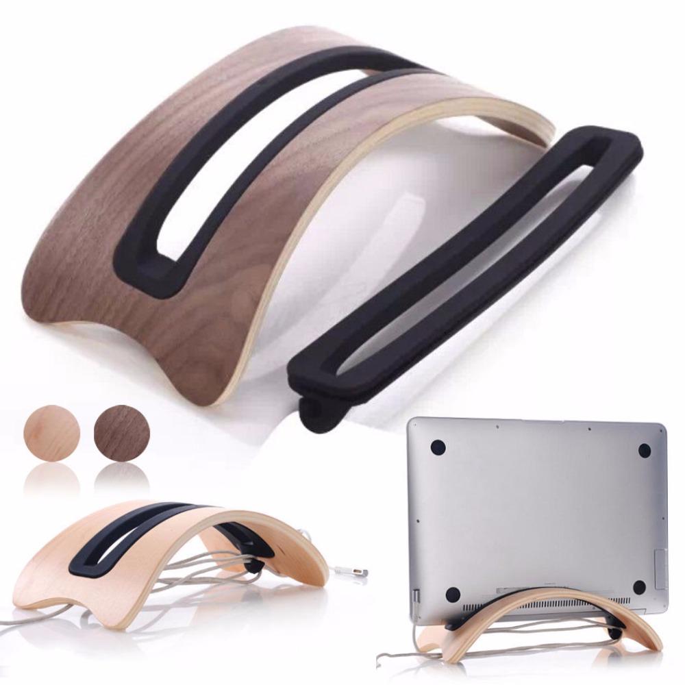Luxury Real Wooden Stand Dock Arc Shape Desktop Mount Holder for Macbook Laptop