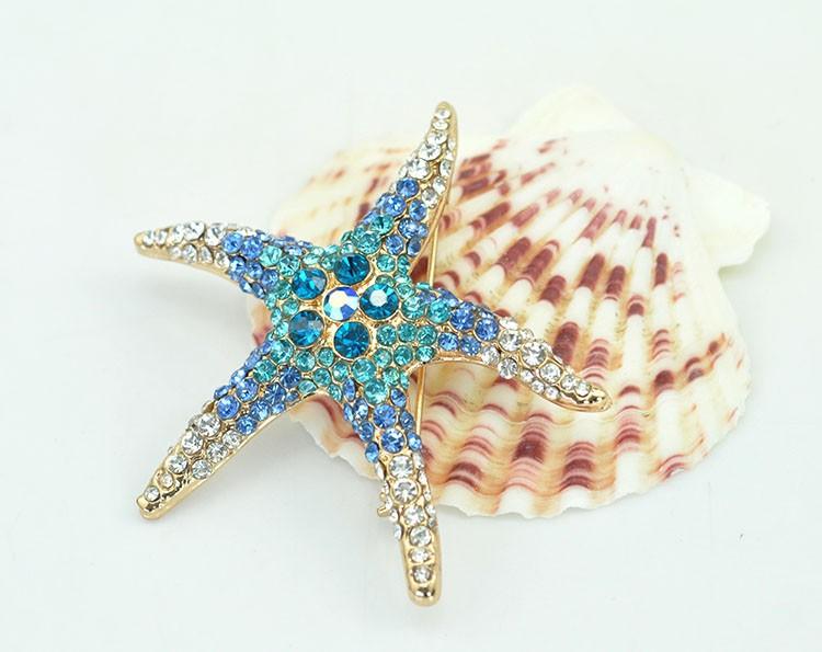 3 Kind Colors Optional Adorable Blue Green Crystal Rhinestone Starfish Brooch