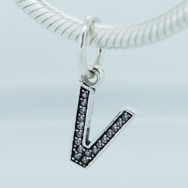 Подходит пандоры прелести браслет 100% 925 серебряные украшения бусины ясно CZ лаки буква V женщины очарование DIY ювелирных оптовая продажа