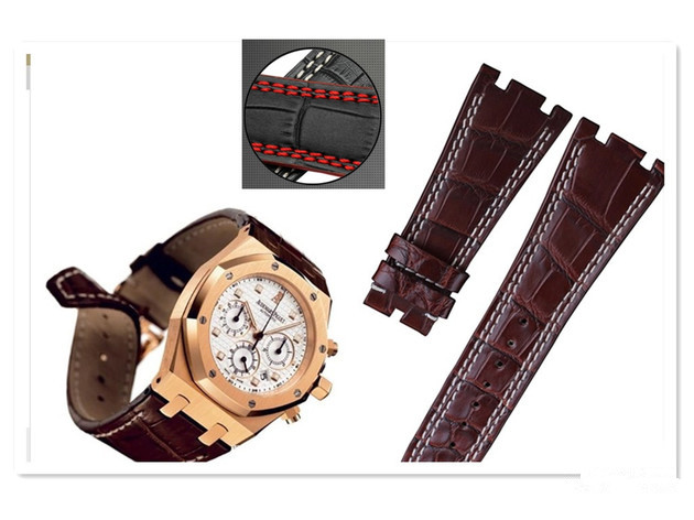 For Audemars 100% New 28 mm Genuine Leather handmade watch band Strap + Silver Clasp For AP + Tools(China (Mainland))