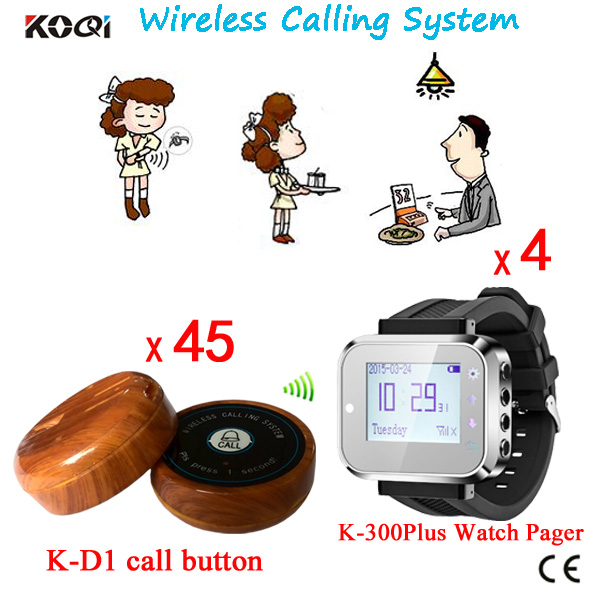 Table Calling System Wireless Restaurant Call Button K-300plus-black+K-D1-wooden Nice Design Bell With Wrist Pagers(China (Mainland))