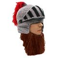 Men Wig Beard Hat Retro Rome Knight Tassel Beard Beanie Cap Balaclava Handmade Winter Warm Holiday