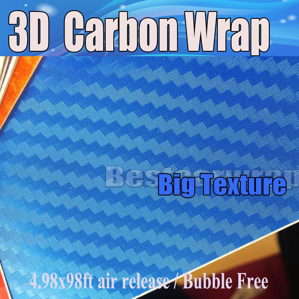 Big texture Pearl Blue 3d carbon fiber vinyl Wrapcarbon Texture Air Bubble Free large grid Car wrap 1.52x20m/Roll(China (Mainland))