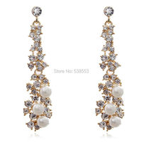 New Korea Fashion Beautiful Jewelry  Crystal  Rhinestone Color Long  Drop Earrings Chistmas Gifts For Women