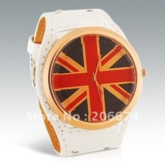 latest style British National Flag Pattern Analog Watch with PU Leather Strap (White.blue.black.broen.red).free shipping
