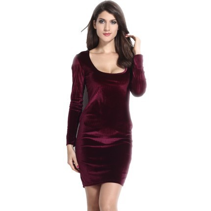 Women sexy club dress 2015 new arrival hot sale fashion femininos dress wine velvet summer midi dress casual sexy 6684(China (Mainland))