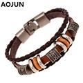AOJUN Hot 12 Constellations Bracelet Male Leather Bracelet Femme Alloy Punk Bracelets For Women Bracelets & Bangles Wholesale