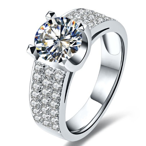 1 carat Natural moissanite Engagement ring 18K white gold Bridal Wedding Jewelry Fabulous Gift Girl Love best Valentine's Gift(China (Mainland))