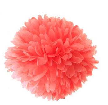 "Dress My Cupcake 10"" Coral Tissue Paper Pom Poms, Set of 4(China (Mainland))"