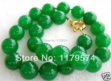 "High quality fashion jewelry 10MM NATURAL GREEN Jasper BEAD NECKLACE 18"" AAA+WJ130(China (Mainland))"