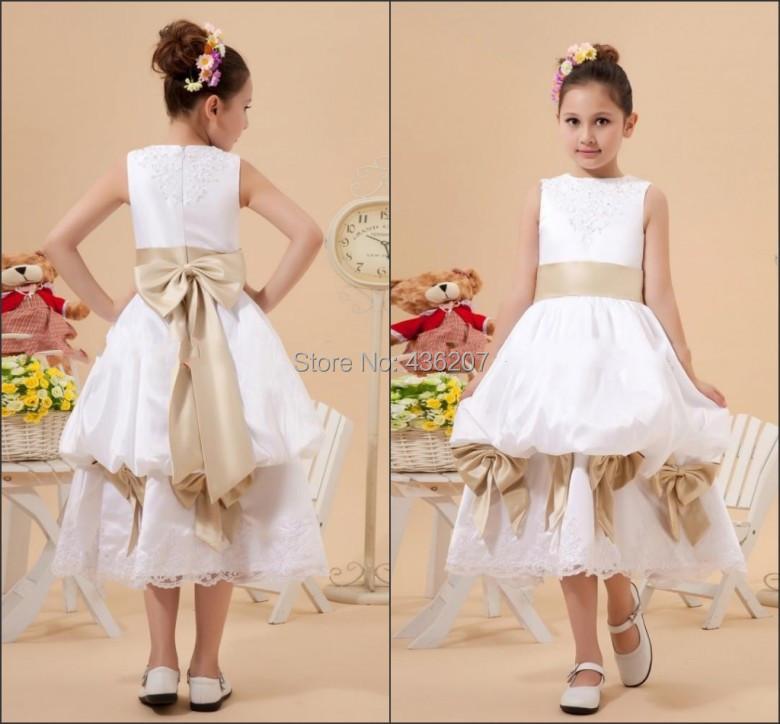 Cheap A-Line Scoop Taffeta Pick up Flower Girl Dress with Bow 2015 Robe Demoiselle d Honneur Enfant Vestido Menina Flor(China (Mainland))