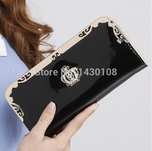 2015 Women's Fashion Purse business Rhinestone long wallet famous brand designer lady purse pink black rose wallets for women(China (Mainland))