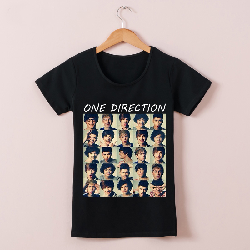 Cheap Summer One Direction Girl Style Women T Shirts Short Sleeve 1D Printed t-shirts 100% Cotton Clothing free shipping(China (Mainland))
