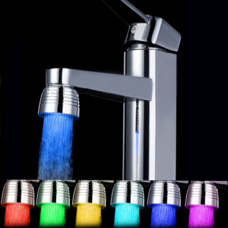 Led colorful water head colors changing mini kitchen for Colorful bathroom accessories