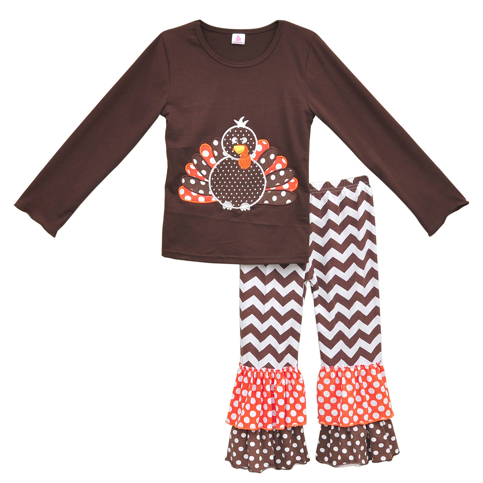 American Girl Thanksgiving Turkey 2 Pcs Outfits Knitted Cotton Top Chevron Stripes Double Ruffle Pants Kids Winter Suits CO012(China (Mainland))