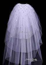 2015 Cheapest In Stock Bridal Veils Cut Edge Tulle Beaded Crystal White Ivory Wedding Accessory Elegant Hot Sale Popular(China (Mainland))