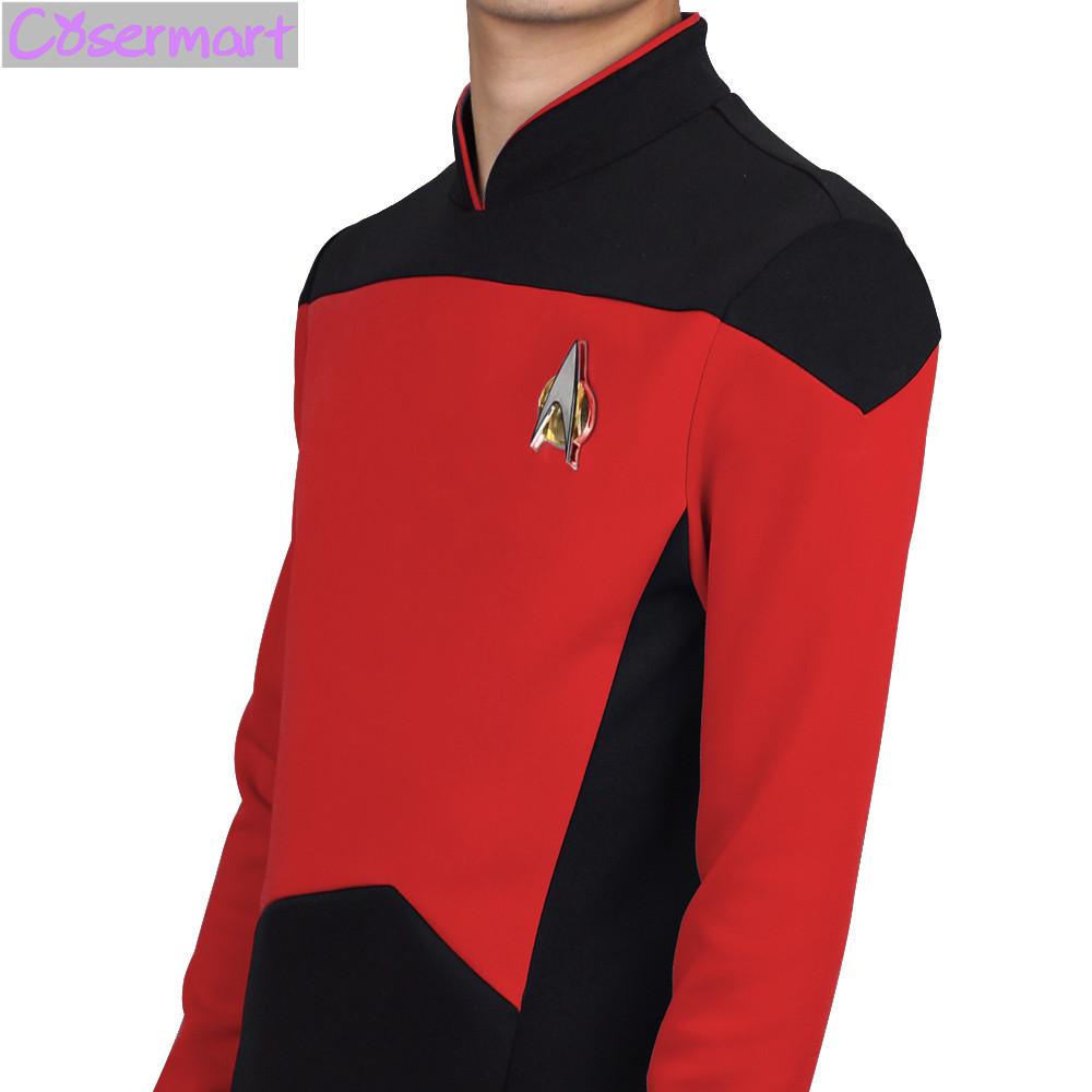 Star Trek TNG The Next Generation Red Yellow Blue Shirt Uniform Cosplay Costume For Men Coat Halloween Party (6)