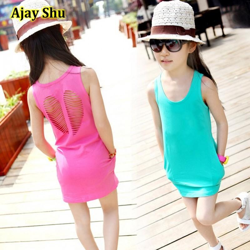 Hot New 2017 summer girl dress baby girls vest dress cotton girl clothing hollow pocket bag hip baby casual dress free shipping(China (Mainland))